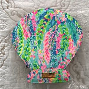 Lilly Pulitzer makeup brush set with travel case